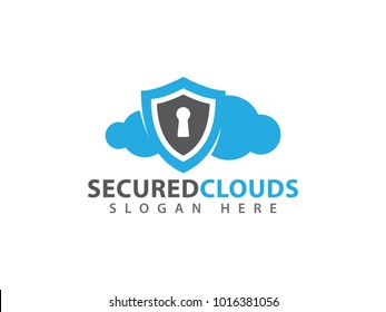 vector online secure and guarded shield cloud storage logo design