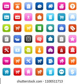 vector online shopping icons set - e-commerce sale sign symbols, sale buy shop symbol - web market store sign