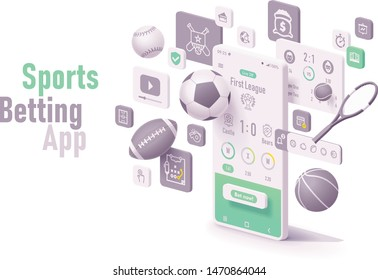 Vector online sports betting app concept. Smartphone with roulette, casino chips or tokens, blackjack playing cards, dices and neon sign