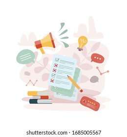 Vector online survey abstract concept. Internet customers voting. Online business quiz form. Modern design for feedback web site, mobile app, banner, infographics, questionnaire checklist, test form.