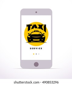 Vector online taxi service logo design isolated on smartphone. Mock up. Human han holding smartphone flat illustration. Car icon.