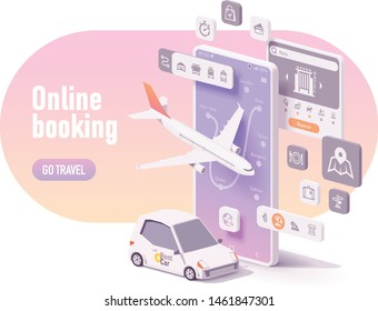Vector online travel planning illustration, hotel booking or buying airline tickets, rental car reservation, trip planner app concept. Smartphone, airplane, car for hire