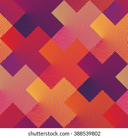 Vector op art pattern in warm colors. Bold geometric background design with linear crosses. Simple to edit, without gradient.