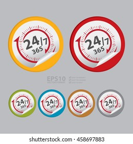 Vector : Open 24/7 365 Days Service Infographics Icon on Circle Peeling Sticker