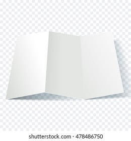 Vector open blank folding paper leaflet. Folded paper sheet blank white page. Spreadsheet isolated on transparent background