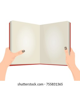 Vector open book with blank pages in the hands of caucasian female