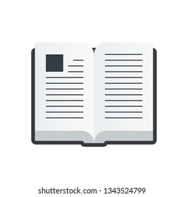 Vector open book icon in a flat style isolated on white background. Education symboy illustration
