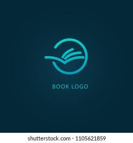 Vector open book logo. Education concept for design template. School, university, college icon. Manual, Encyclopedia, Education Centre, Training, Info, Library logotype.