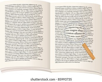 vector open book with magnifying glass