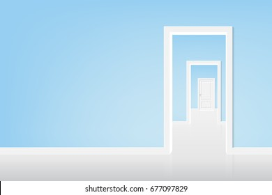 vector open the door to the light, blue room with white door. There is light under the door, illustration concept about life style.