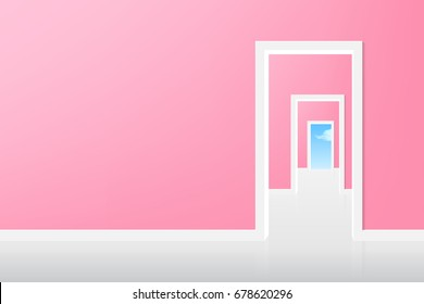 vector open the door to the sky, pink room with white door. illustration life style is concept.
