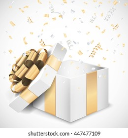 Vector open gift box and confetti