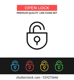 Vector open lock icon. Unlock concepts. Premium quality graphic design. Modern signs, outline symbols collection, simple thin line icons set for websites, web design, mobile app, infographics