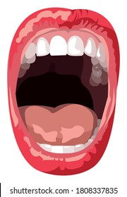 Vector open mouth in graphic style