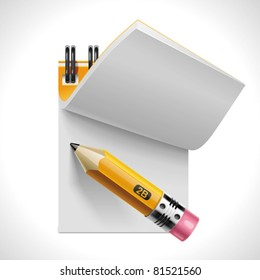 Vector open notepad with pencil XXL icon