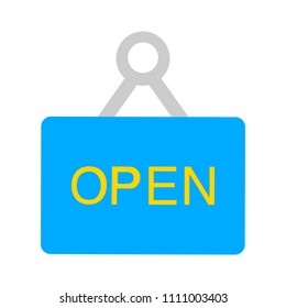 vector open sign illustration, shopping store icon. information tag