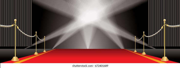 vector opened black curtain stage with red carpet, golden fence and five spotlights, show business and entertainment editable and layered horizontal background