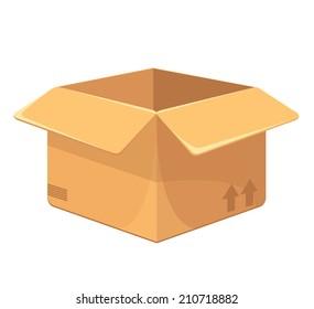Vector Opened Carton Box Flat Icon