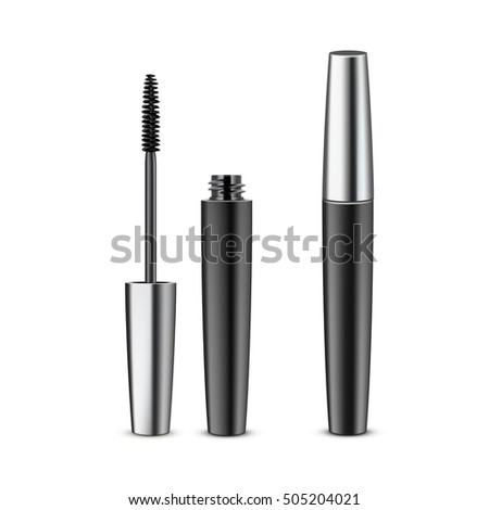 b2223448f45 Vector Opened Closed Black Realistic Mascara in Dark Metallic Shiny Tube  Isolated on White Background