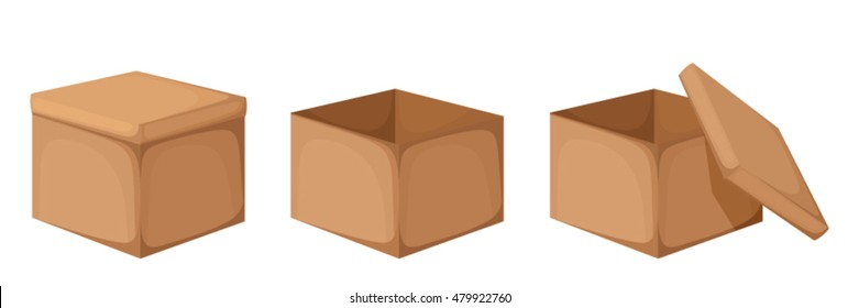 Vector opened and closed cardboard boxes isolated on a white background.