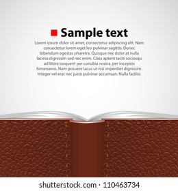 Vector opened leather book background. Background collection.