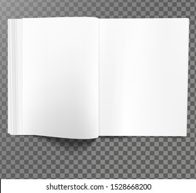 Vector. Opened magazine template. Isolated on transparent background. Blank spreadsheet mock-up. Suits for page layout testing.