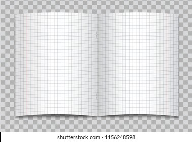 Vector opened realistic squared elementary school copybook with red margins on transparent background. Mockup or template of blank graphed opened pages of notebook or exercise book with staples.