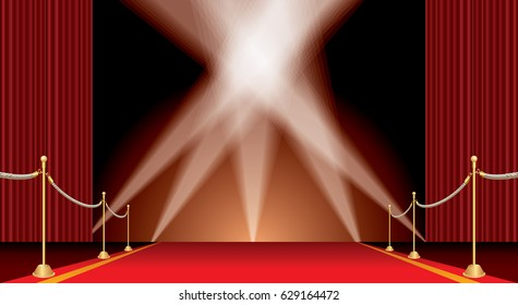 vector opened red curtain stage with red carpet, golden fence and five spotlights
