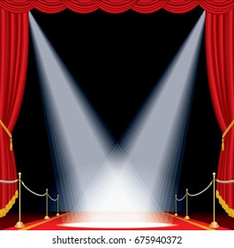 vector opened red curtain stage with red carpet, golden fence and two spotlights, show business background
