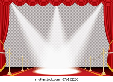 vector opened red curtain stage with red carpet, golden fence and three spotlights, show business background
