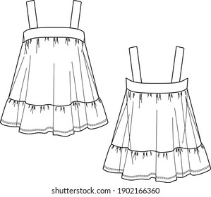 Vector opened shoulder blouse sketch, women top fashion CAD, tank top technical drawing