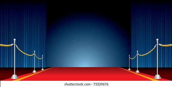 vector opened stage with blue curtain and red carpet