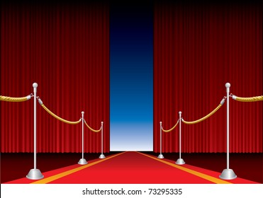 vector opened stage curtain with red carpet