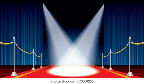 vector opened stage with red carpet and spotlights