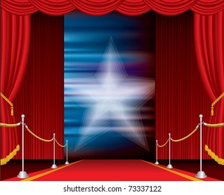 vector opened stage with red curtain and blurry star