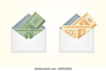 Vector opened white envelope with cash dollar and euro money banknotes. Isolated white paper envelope with cash dollars and euros. Salary payout or corruption concept