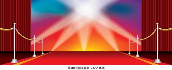 vector opened wide stage with red carpet and five spotlights on rainbow colors background