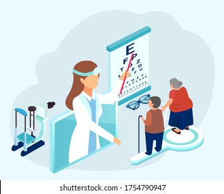 Vector of an ophthalmologist doctor testing eyesight of senior patients man and woman with vision problems