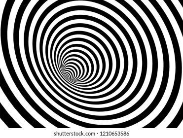 Vector optical art illusion of striped geometric black and white abstract surface flowing like a hypnotic worm-hole tunnel. Optical illusion style design.