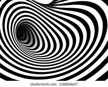 \nVector optical art illusion of striped geometric black and white abstract line surface flowing like a hypnotic worm-hole tunnel. Optical illusion style design.