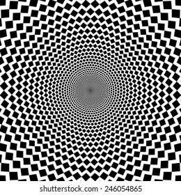 Vector optical illusion sharp lines black and white background