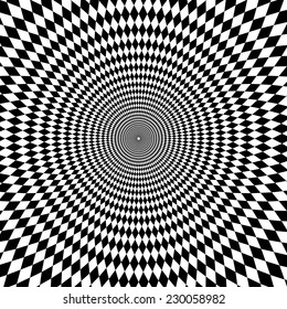 Vector optical illusion zoom black and white background