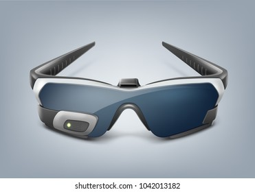 Vector Optical Vr Headset Virtual Head Mounted Display Or Augmented Reality  Smart Glasses Front View