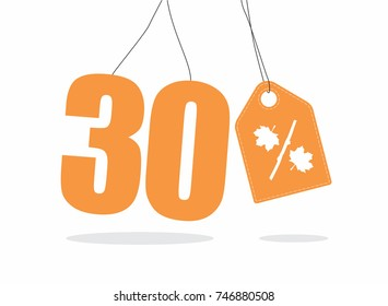 Vector orange 30% text and a price tag label designed with an autumn maple leaf and stick branch percent icon on air with shadow isolated on white background. For autumn sale campaigns.