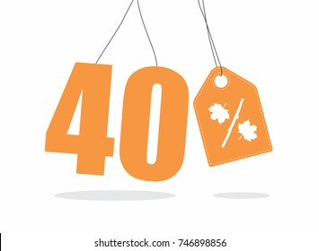 Vector orange 40% text and a price tag label designed with an autumn maple leaf and stick branch percent icon on air with shadow isolated on white background. For autumn sale campaigns.
