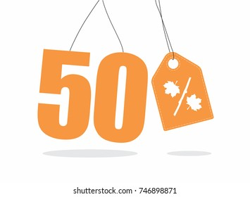 Vector orange 50% text and a price tag label designed with an autumn maple leaf and stick branch percent icon on air with shadow isolated on white background. For autumn sale campaigns.