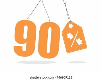 Vector orange 90% text and a price tag label designed with an autumn maple leaf and stick branch percent icon on air with shadow isolated on white background. For autumn sale campaigns.