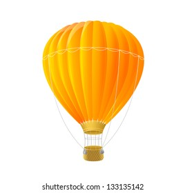 Vector orange air ballon isolated on white