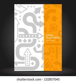 Vector orange brochure cover design with gray arrows. EPS 10