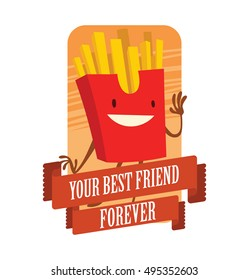 """Vector orange card with banner and with cartoon image of a funny red paper box with yellow french fries on a white background. Inscription """"Your best friend forever"""". Snack, lunch, street food."""